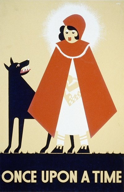 "Vintage Poster  LITTLE RED RIDING HOOD - The blocked triangle shapes used in this poster give a definite ""sharp"" angular style and makes things seem rigid. The colours are quite neutral except for the pop of red which I think is what makes this poster eye catching."