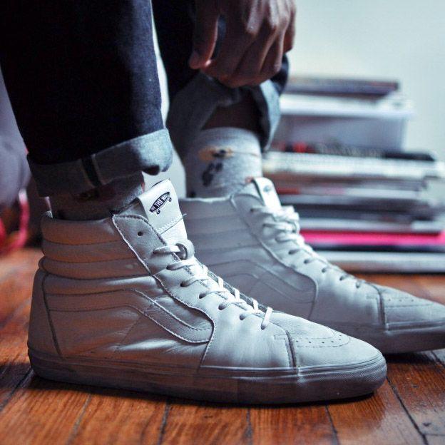 All white leather #vans #premium