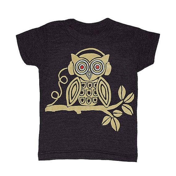 KIDS / Headphones Music Owl  Tshirt Crew Neck by GnomEnterprises, $20.00