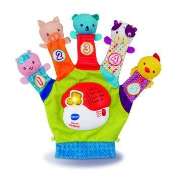 VTech Dieren Handpop, 12-36 Maanden - Ga met de dieren op avontuur! Druk op de toetsen, leer tellen tot vijf en speel een spel waarbij je het juiste dier moet vinden. Schud met de handpop en luister naar de grappige geluiden en bekende melodietjes. Met twee speelstanden.