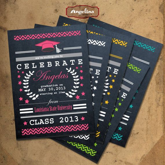 Graduation Chalkboard Invitation Double Sided Diy Card Digital