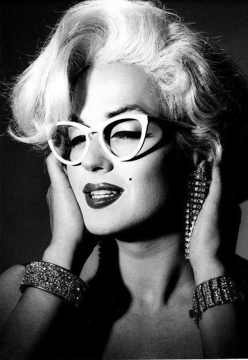 Marilyn Monroe in Cat Eye Glasses - For more info on glasses check out www.visionsourcespecialists.com #glasses