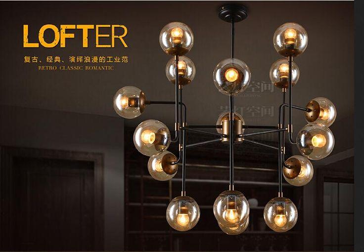 A1 American industrial wind retro Beanstalk dining room chandelier minimalist Scandinavian iron glass ball with creative lightin