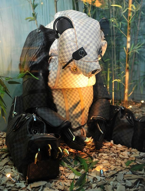 We love this Louis Vuitton display in China - a zoo made from LV bags!