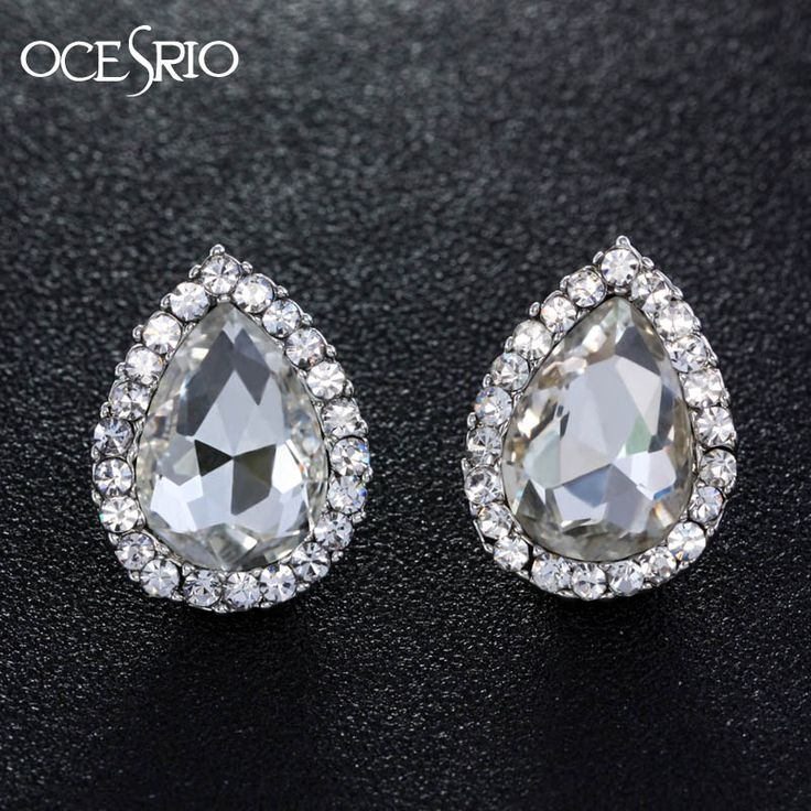 OCESRIO Ladies New Silver Stud  Big Water Drop Crystal Stud Earrings //Price: $10.95 & FREE Shipping //     #stylish