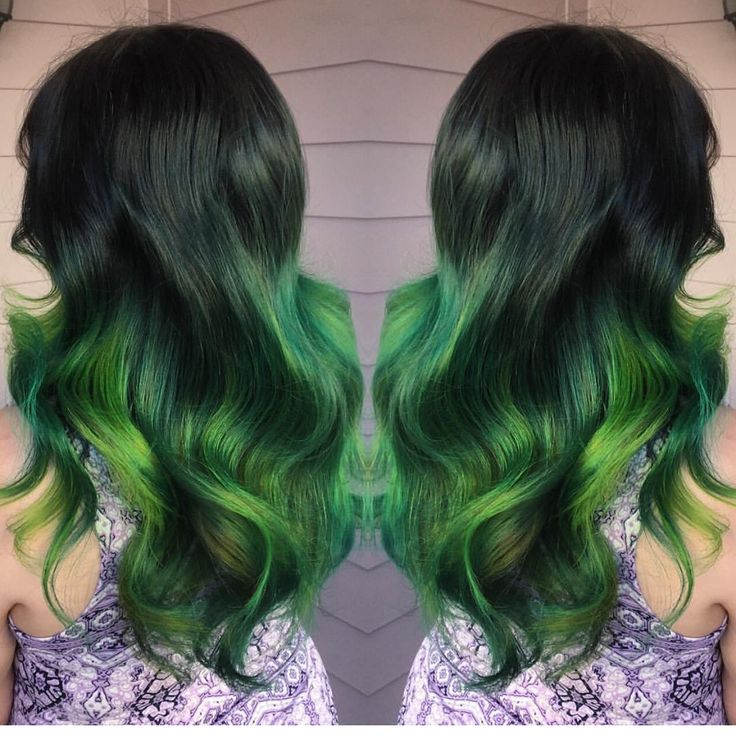 Slytherin Pride  by @amandahair3ypotterhead green hair painting neon green ombre hotonbeauty.com