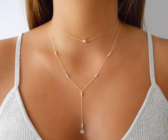 Elegant Gold Necklace Set Set Of 2 Necklaces Gold Y Necklace