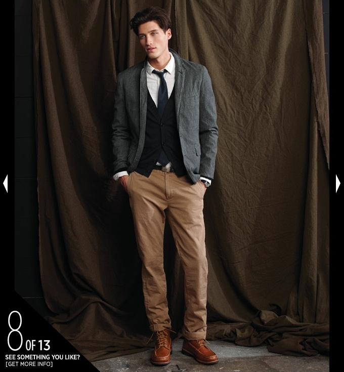 Need to try this pairing of khakis with cardigans. Very Oxford.