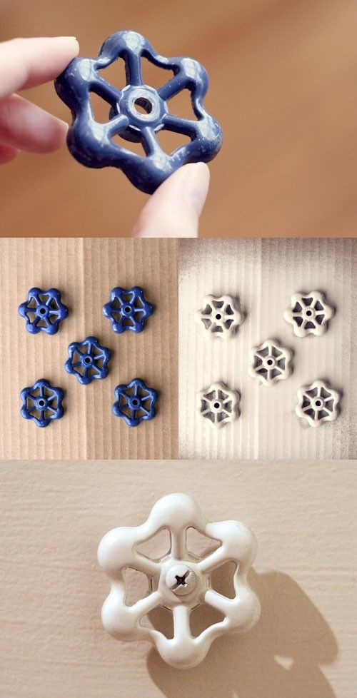 diy industrial cabinet pulls | idea for knobs by using faucet handles. I have used faucet handles ...