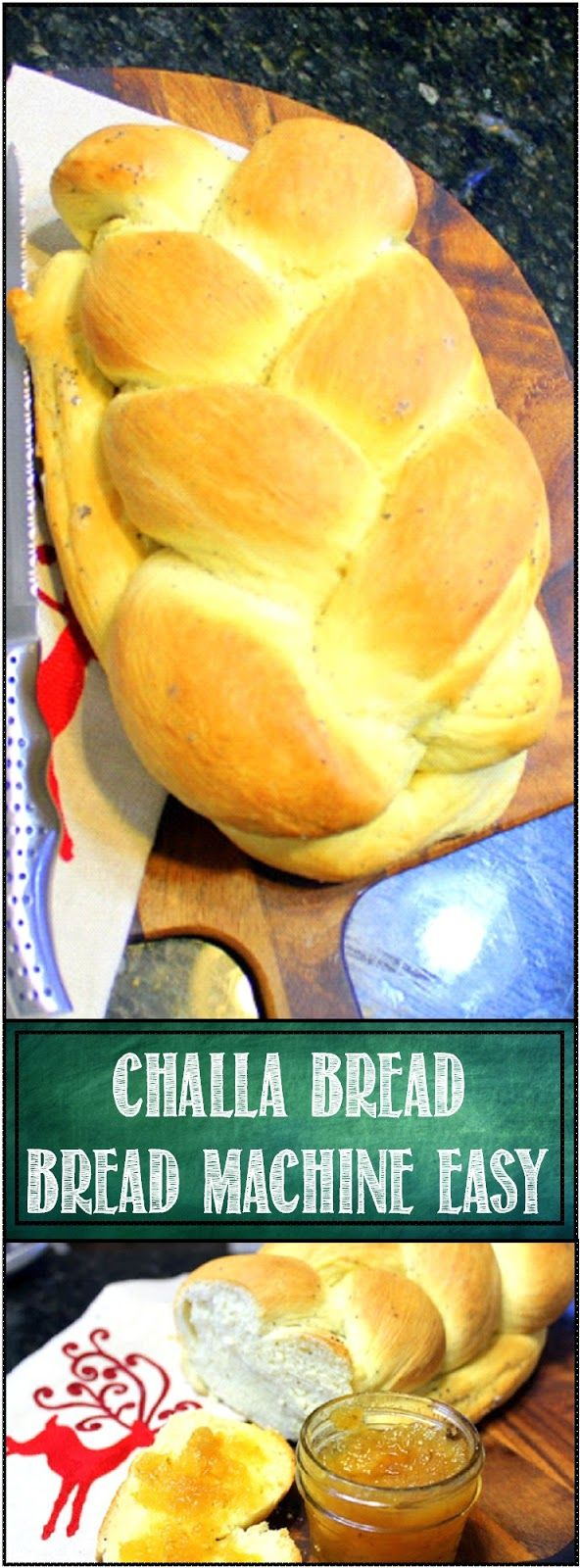 Challa Bread from a Bread Machine EASY DIY Fresh made bread - Yes Inddedy Do - This holiday show stopping presentation piece bread is indeed simple to make when a bread machine does all the mixing, kneading and first rise for this Holiday specialty. Just divide the dough, do a braid,and bake... HAPPY HOLIDAYS YEAR ROUND!