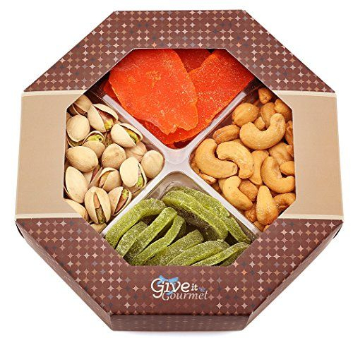 GIVE IT GOURMET Assorted Dried Fruits and Nuts Gift Basket 4 Section  Variety of Delicious Dried Mango Kiwi Roasted Salted Pistachios Cashews   Medium Healthy Gift Tray >>> See this great product.