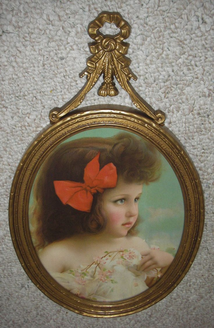 Excellent Old 1909 Print of Adorable Little Girl with Big Blue Eyes Housed in Gorgeous Old Victorian Frame With Barbola Top and Glass by AntiqueFramedPrints on Etsy