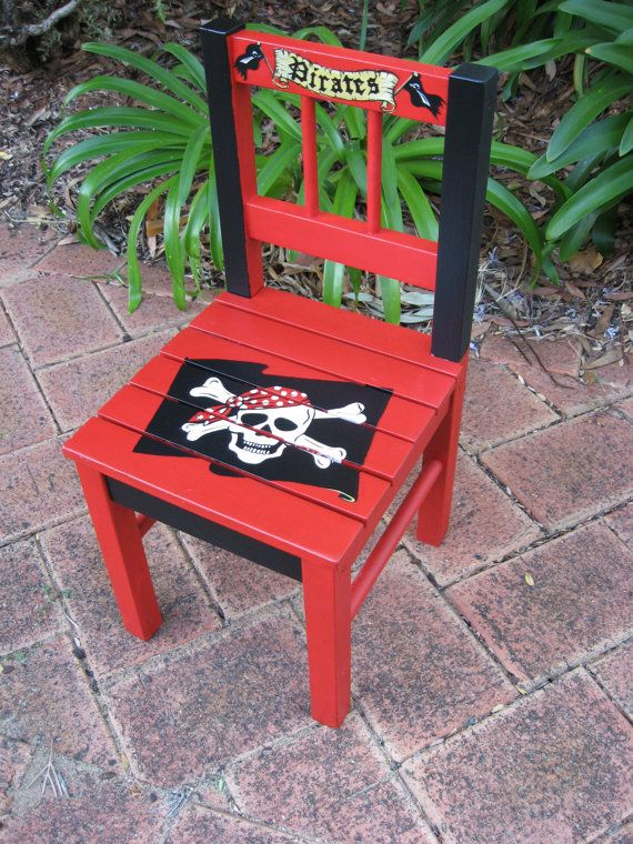 Pirate painted chair #PrimroseReadingCorner