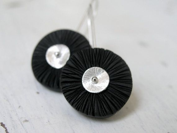 Black polymer clay wheels on sterling silver by AntigoniCreations, $24.00