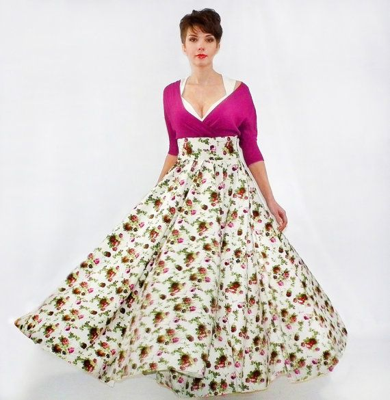 Maxi Skirt  Long Skirt Floor length skirt Floral skirt от FatBerry, $75.00