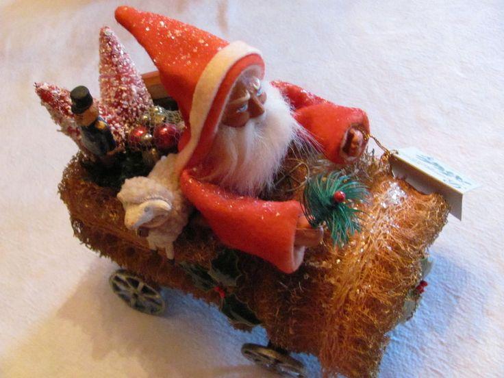 RETIRED Bethany Lowe Christmas German Old Style Santa Riding Loofah Sponge Car    eBay