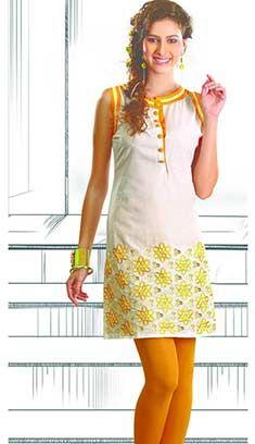 Indian Bollywood Designer Cream Cottan Kurti