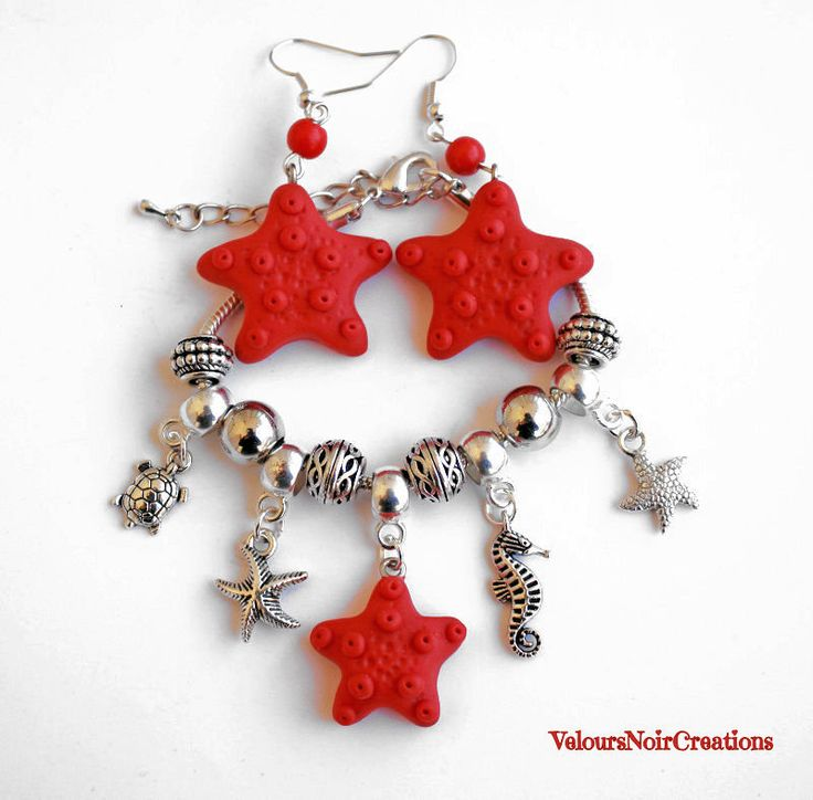 Completo bracciale e orecchini stelle marine in fimo., by Velours Noir Crèations, 24,00 € su misshobby.com