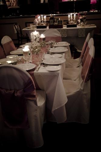 #wedding #weddingreception #pink #satinsash #sashes #satinrunner #vases #candles
