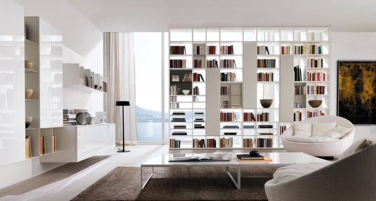 The imagination of creative design  Modules in freedom. Bookcase Link System sided thermo-structured oak open pore white, front hemp color, living systems Link System Z002, Z003 Monopoly and hanging Cupboard.