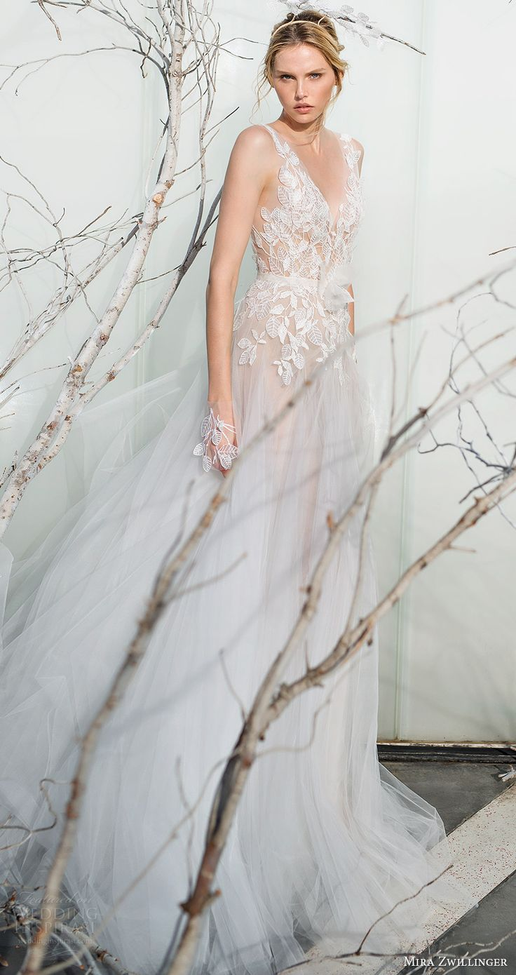 mira zwillinger bridal 2017 sleeveless illusion straps vneck aline wedding dress (fern) mv