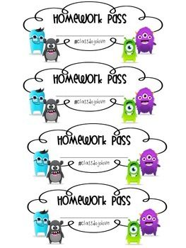 Use this FREE Class Dojo Homework Pass as an incentive along with the reward list found in my store! Students will love seeing the avatars on their homework pass and will sure be motivated to earn more positives in lieu of a homework pass!! Please remember to rate this product!