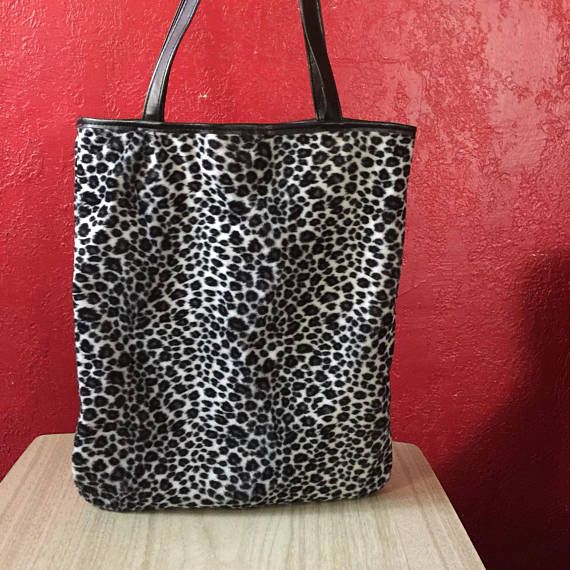 Vintage 1990s Plush Animal Print Tote Bag