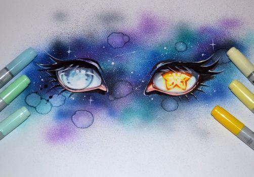 Star and moon galaxy eyes