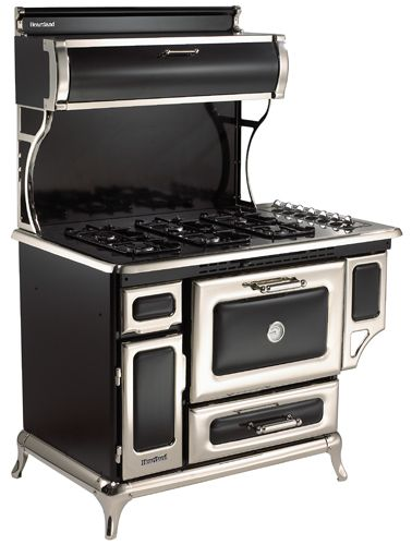"""5210CDGBLK Heartland 48"""" Dual Fuel Range with Self-Cleaning Electric Convection Oven and 4 Burner Natural Gas Cooktop - Black"""