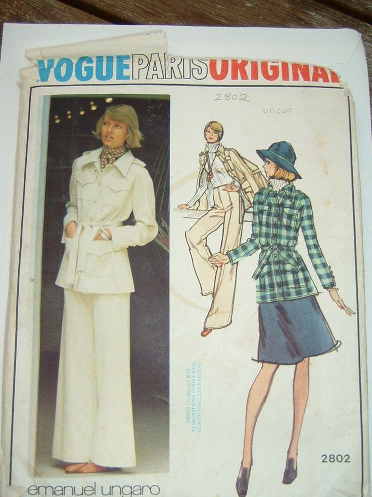 Vintage Vogue 70s jacket, skirt & pants pattern No.2802 size 14
