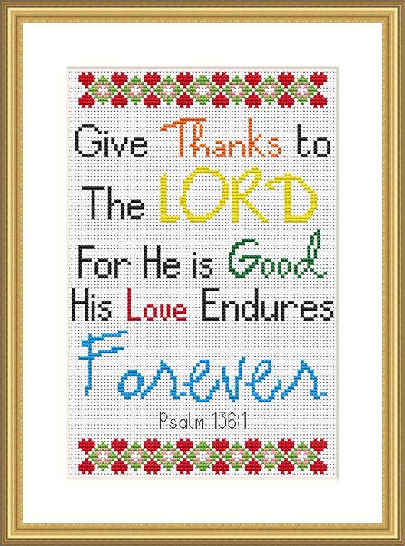 Bible Verse Cross Stitch Chart Psalm 136:1 by CraftedwithGodsLove