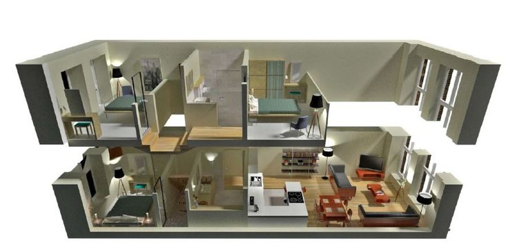 Modern 3d 2 Story Floor Plans On Apartments With 2 Story Floor Plans Floor Plan