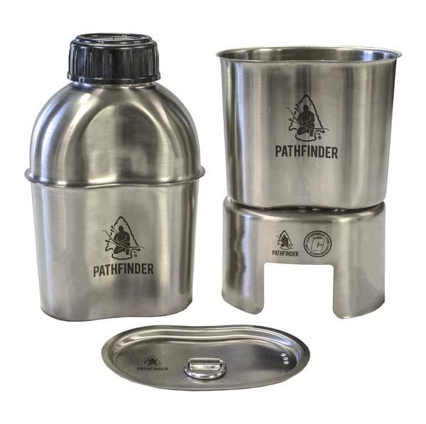 Canteen Cooking Set Whether you are a causal hiker, a hunter, a prepper, an extreme outdoor enthusiast, or serving a tour of duty in the jungles of Peru, you are 1 mechanical injury away from finding yourself in a real survival situation.Let's face it, at that point, your 2 primary concerns are always going to be hydration and core temperature regulation, that is why this kit is a MUST HAVE in your pack. The Pathfinder Widemouth Military CanteenCooking Kit was designed so the canteen will…