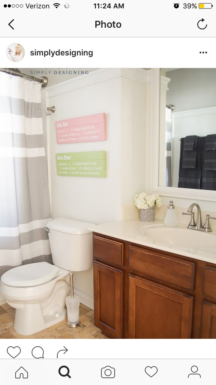 Sharing this beautiful and easy Kids Bathroom Makeover /bhglivebetter/  /walmart/
