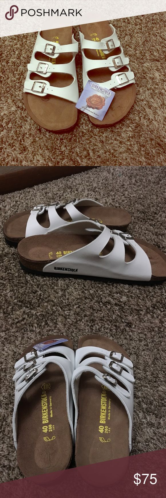 White Birkenstock Sandals Brand new with tags Brand new with tags!  White three strap Birkenstock sandals! Birkenstock Shoes Sandals
