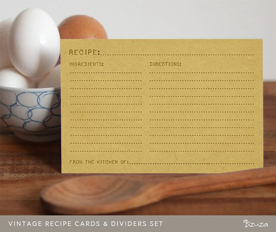 Printable recipe cards and recipe box dividers 4x6 printable editable pdf instant download for Editable recipe card