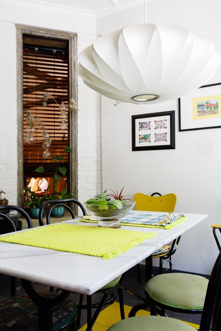 Shelley & Janluk's Home Paradise via Apartment Therapy | George Nelson Saucer CC Lamp | http://modernica.net/saucer-cc-lamp.html