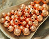 100 cuivre lisses perles rondes - 3mm, 4mm ou 5mm avec trou de 1 mm.