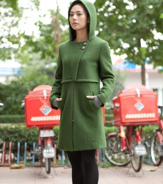 Green comfortable wool hoodie coatmore colour and by thesimpson, $99.00