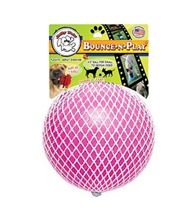 Jolly Pet Bounce-N-Play Ball Pink 4.5 inch | Bubblegum Scented Rubber Dog Toy