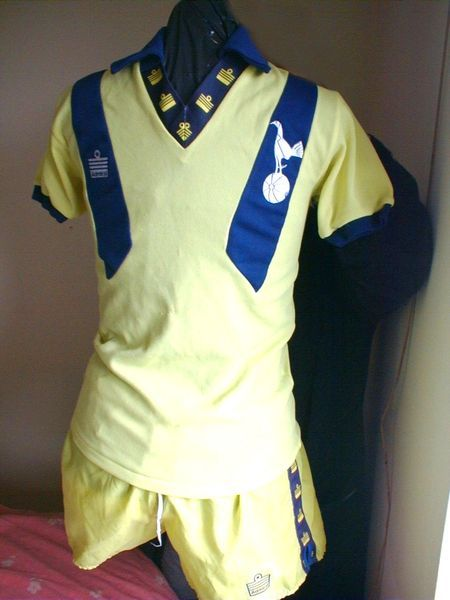 1977 tottenham shirt.  I would wear this everyday.  Every detail makes it worse the longer you look.  It must be a satire of 70's kits.  Isn't the logo too new?  (Shudder.)