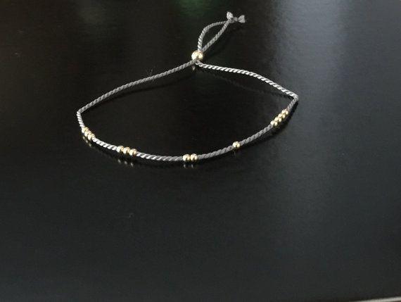 Gold or Silver Beaded Silk Bracelet or Anklet // by JAYNEandJAMES