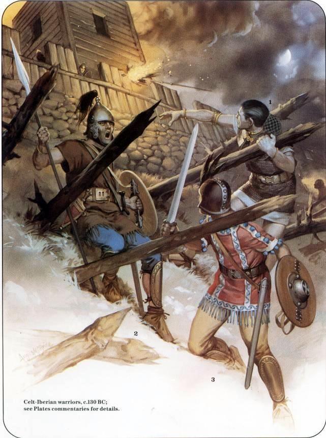 Celt-Iberian assault on a Roman fort,130 BC. art by Angus McBride.