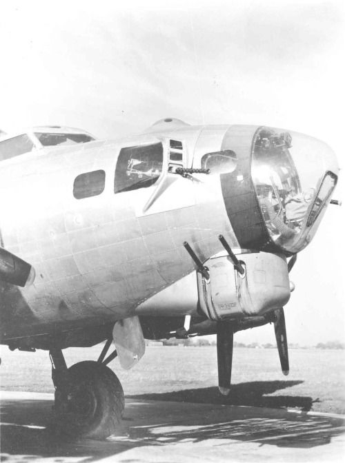 Close up on the nose of a B-17G Flying Fortress (1944)