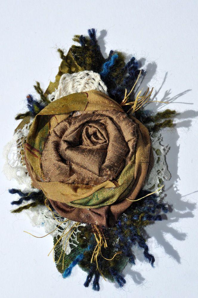 gold 100% dupion silk handwoven tweed corsage BROOCH jacket dress pin 12 cm rose