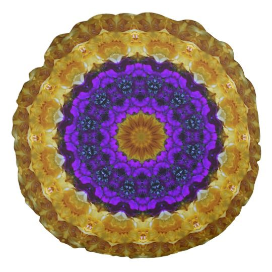 Floral Art Mandala Round Throw Pillow by www.zazzle.com/htgraphicdesigner* #zazzle #throw #pillow #throwpillow #floral #abstract #mandala #kaleidoscope #purple #mothersday
