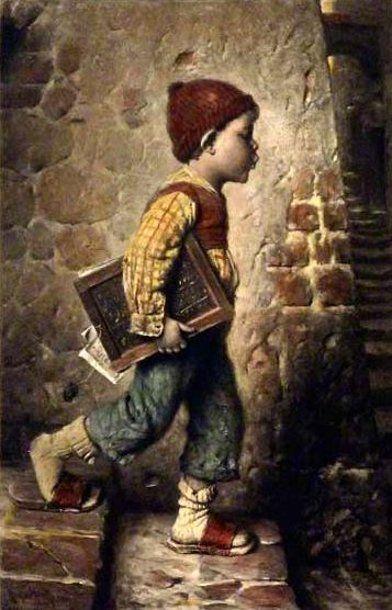 """School is Over"" ~ By Artist Hermann Kaulbach (1846 – 1909,German)"