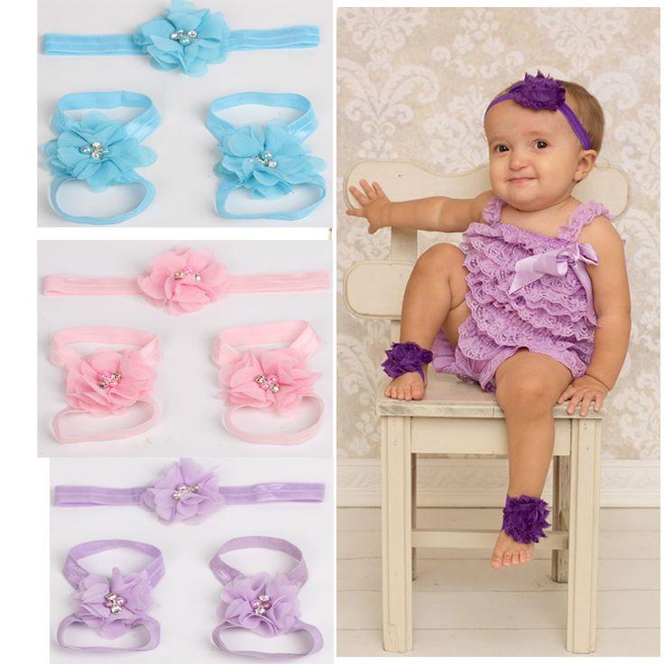 Розничная новорожденный повязка на голову потертый шик цветы детские босиком сандалии и повязками на головах , установленных фотография опоры дети аксессуары