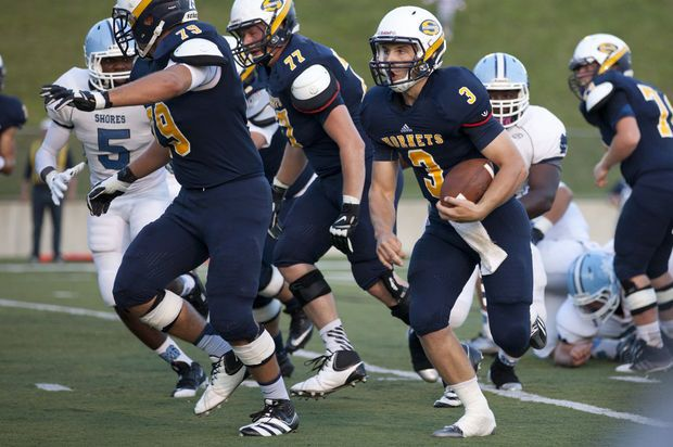 Saline football team goes with platoon at quarterback to open season, feels absence of starting running backs in 31-28 loss to Mona Shores - MLive.com