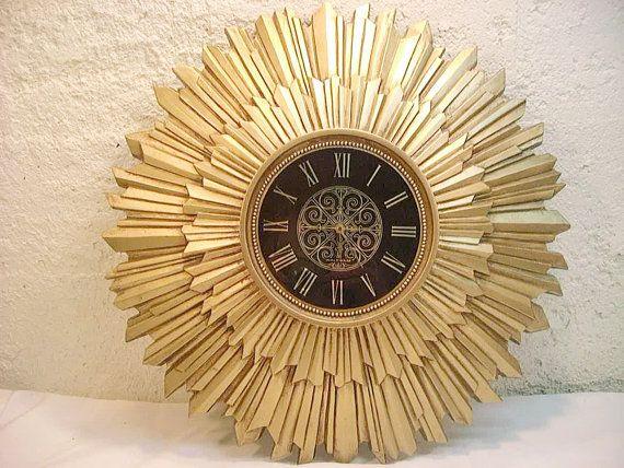 Vintage Sunburst Starburst Clock Hollywood by AnnClarkInteriors